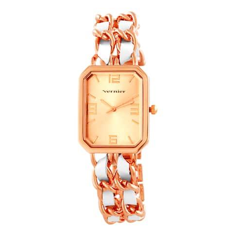 Vernier Women's Rose Goldtone Double Chain Inlay Status Octagon Watch