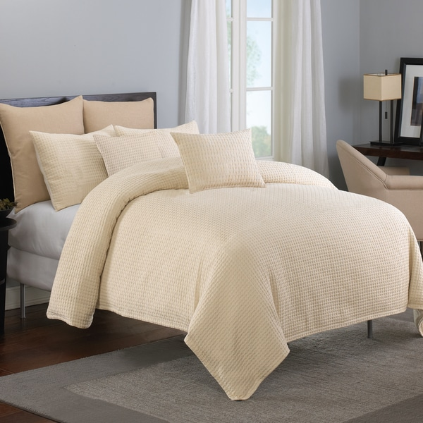 Grand Luxe Payton Waffle Cotton 3-piece Comforter Set