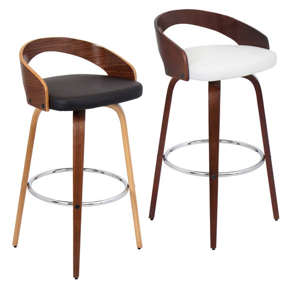 Grotto Mid Century Modern Wood Barstool Free Shipping