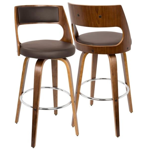 Strick & Bolton Blakey Mid-century Modern Wood Barstool