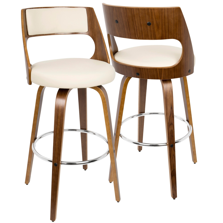 Lumisource Cecina Mid-century Modern Wood Barstool (Cream...