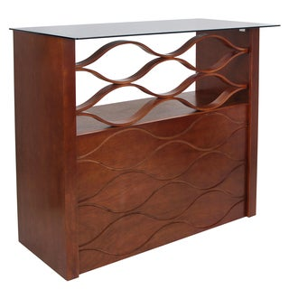 Wave Walnut Wood 42.5-inch Height Home Bar