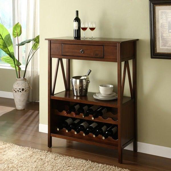 Shop Linon Tiziano Wine Storage Cabinet Aged Cherry