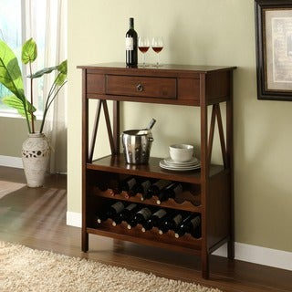 Linon Tiziano Wine Storage Cabinet Aged Cherry