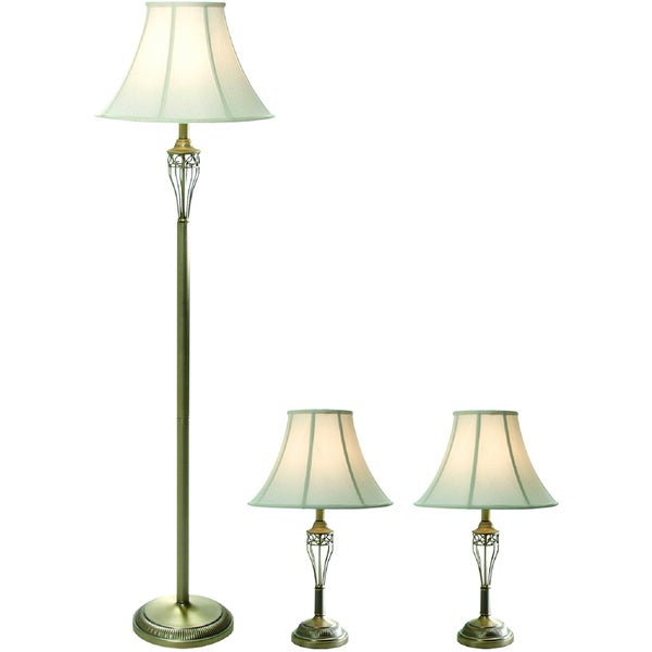 designs antique brass three pack lamp set 2 table lamps 1 floor lamp. Black Bedroom Furniture Sets. Home Design Ideas
