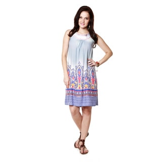 Global Desi Woman's Boho Abstract Print Sleeveless Dress (India)