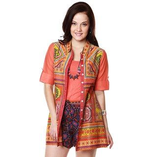 Global Desi Women's Boho Colllared Button-down Printed Tunic (India)