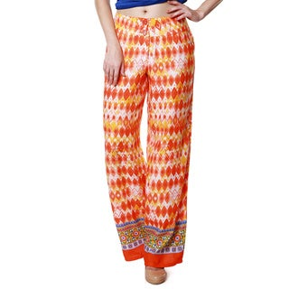 Global Desi Women's Boho Diamond Print Pants (India)