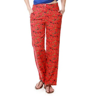 Global Desi Women's Red Boho Printed Pants (India)