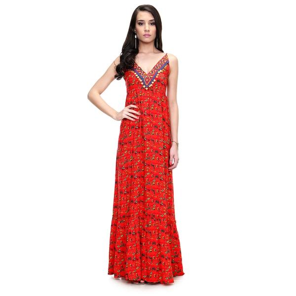 8a70ebaabb Handmade Global Desi Women  x27 s Boho Sleeveless V-neck Printed Maxi Dress