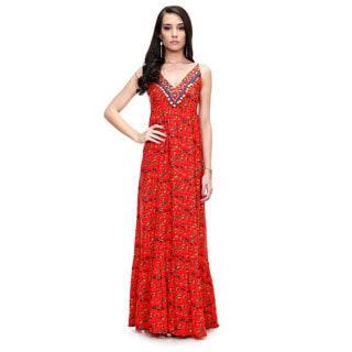 Global Desi Women's Boho Sleeveless V-neck Printed Maxi Dress (India)
