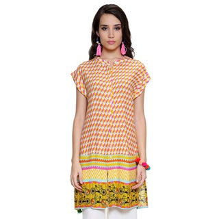 Global Desi Women's Boho Abstract Print Button Down Tunic (India)