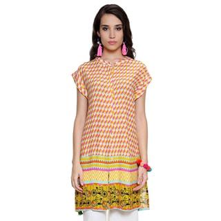 Handmade Global Desi Women's Boho Abstract Print Button Down Tunic (India)