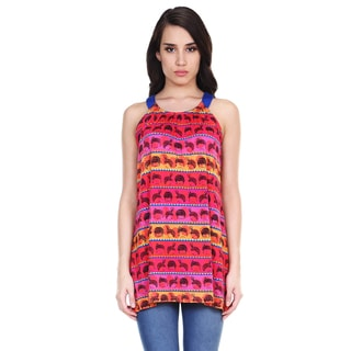 Global Desi Woman's Boho Wig Print Sleeveless Tunic (India)