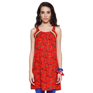 Global Desi Women's Red Bohemian Printed Sleeveless Tunic (India)