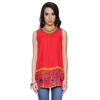 Global Desi Women's Boho Diamond and Carnival Print Tunic (India)