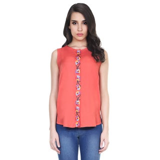 Global Desi Women's Boho Printed Placket Sleeveless Top (India)