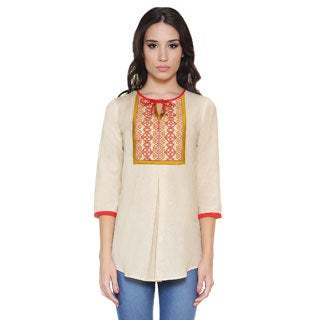 Global Desi Women's Boho Embroidered Yoke Tunic (India)