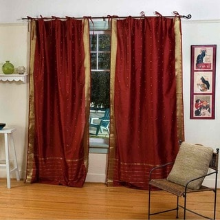 Hand-loom Woven Rust Tie Top Sheer Sari Curtain Panel Pair  , Handmade in India