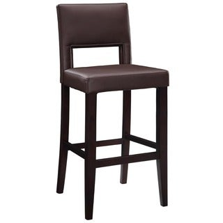 Porch & Den Prospect Hill Aldersey Stationary Dark Brown Upholstery Bar Stool
