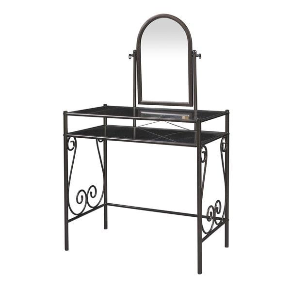 Linon Angelica Glass Top Metal Vanity Table  Stool   Mirror. Linon Angelica Glass Top Metal Vanity Table  Stool   Mirror   Free