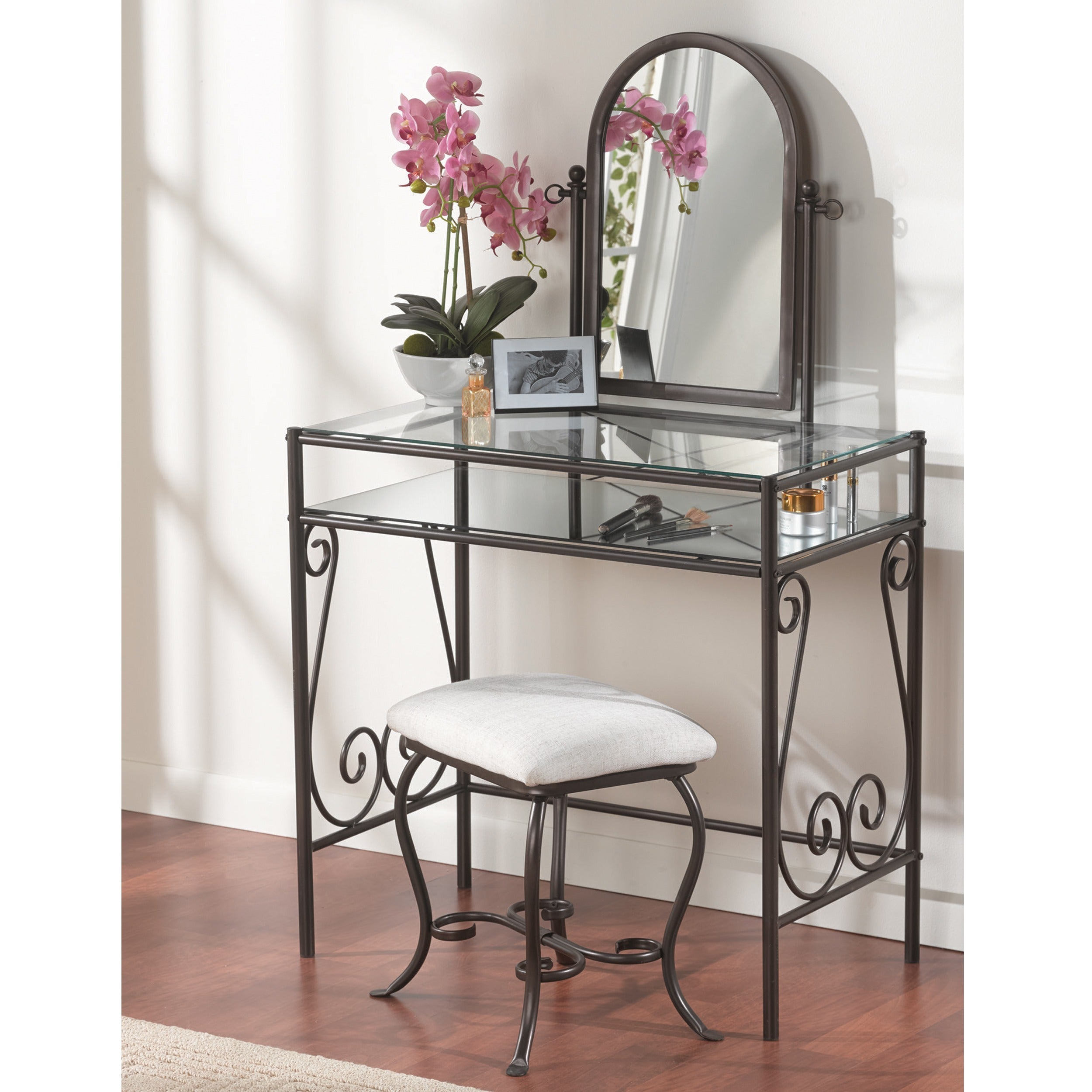 Linon Angelica Glass Top Metal (Grey) Vanity Table, Stool...