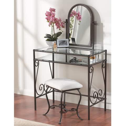 Linon Angelica Glass Top Metal Vanity Table, Stool & Mirror