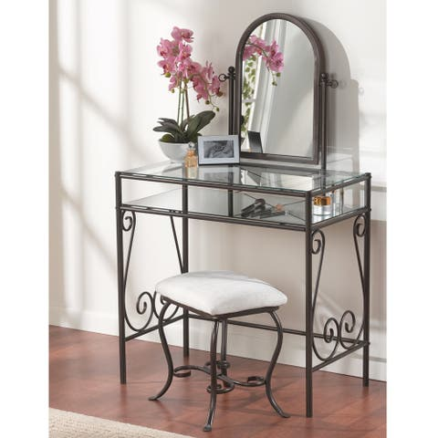Linon Angelica Glass Top Metal Vanity Table, Stool & Mirror