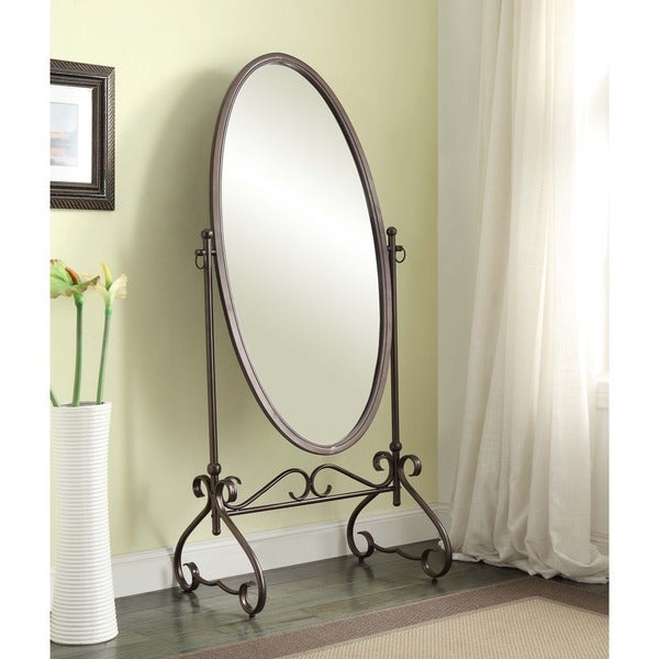 Linon Angelica 26 x 63-inch Metal Oval Cheval Mirror