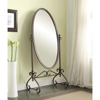 Linon Angelica 26 x 63-inch Metal Oval Cheval Mirror - Antique Brown