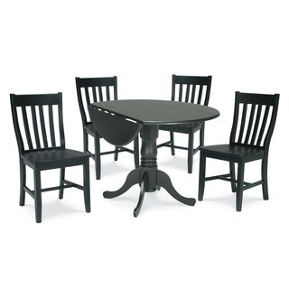 Dining Essentials Black Table and Schoolhouse Chair 5-piece Dining Set