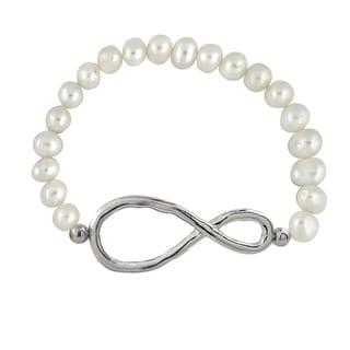 Glitzy Rocks White Freshwater Pearl Infinity Stretch Bracelet (6.5-7 mm)