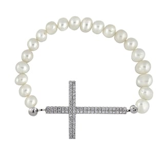 Glitzy Rocks White Freshwater Pearl and Cubic Zirconia Cross Stretch Bracelet (6.5-7 mm)