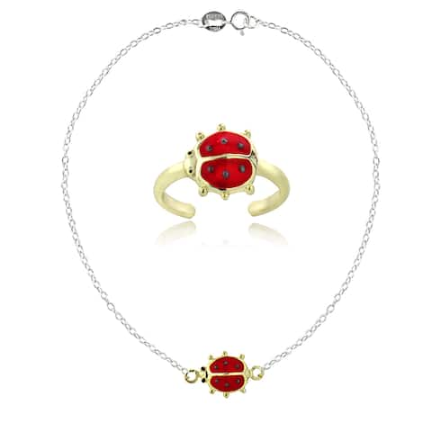 Mondevio Sterling Silver and 18k Gold Over Silver Enamel Ladybug Anklet and Toe Ring Set