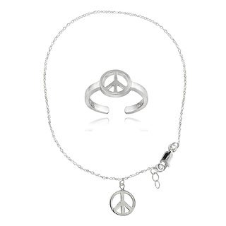 Mondevio Sterling Silver High Polish Peace Sign Anklet and Toe Ring Set