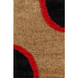 Beige and Black Abstract Geometric Shag Rug (5' x 8')
