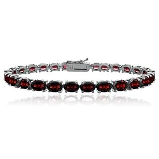 Glitzy Rocks Sterling Silver 12 1/2ct TGW African Garnet Tennis Bracelet