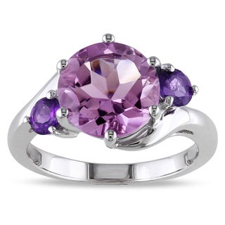 Miadora Sterling Silver 3 1/2ct TGW Rose de France and Amethyst 3-stone Ring