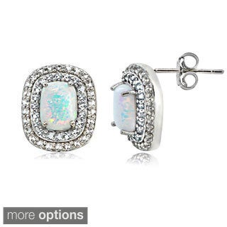 Glitzy Rocks Sterling Silver Created Opal with Gemstone and White Topaz Oval Earrings