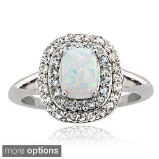 Glitzy Rocks Sterling Silver Created Opal with Gemstone and White Topaz Ring