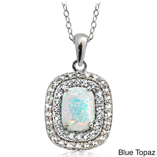 Glitzy Rocks Sterling Silver Created Opal with Gemstone and White Topaz Oval Necklace