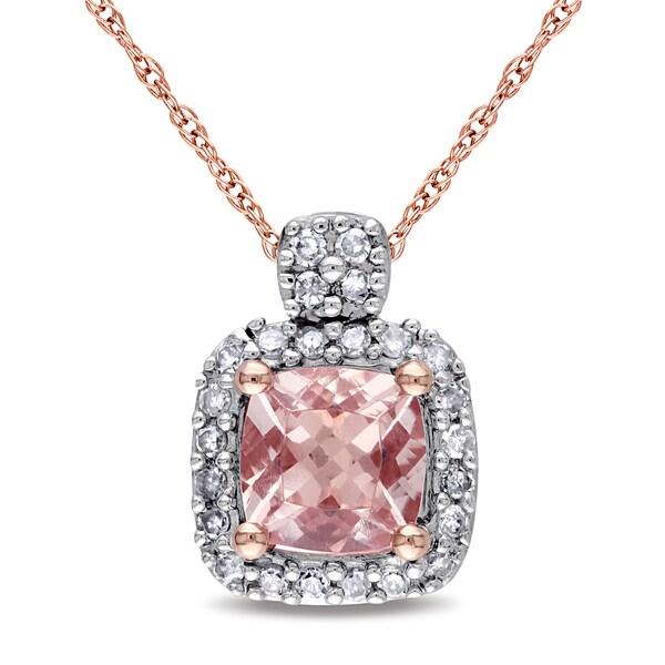 Fine Jewelry Womens Pink Morganite 10K Gold Pendant Necklace gc9QMHE