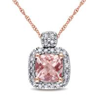 Miadora 10k Rose Gold Cushion-cut Morganite and 1/10ct TDW Diamond Halo Necklace (G-H, I1-I2)