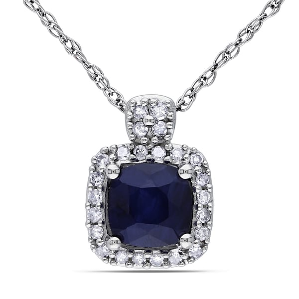 Miadora 10k White Gold Cushion-cut Sapphire and 1/10ct TDW Diamond Square Halo Birthstone Necklace