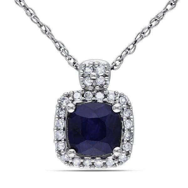 10 000 Up Diamond: Shop Miadora 10k White Gold Cushion-cut Sapphire And 1