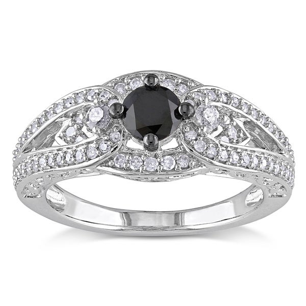 Miadora Sterling Silver 3/4ct TDW Black and White Diamond Ring