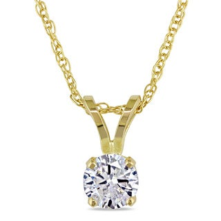 Miadora 14k Yellow Gold 1/3ct TDW Diamond Solitaire Necklace (J-K, I2-I3)