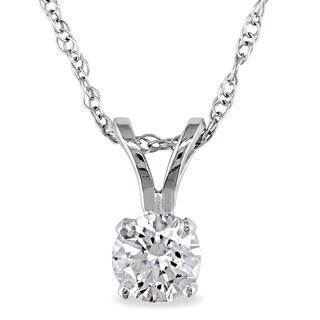 Miadora 14k White Gold 1/3ct TDW Diamond Solitaire Necklace