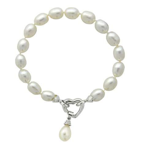 Glitzy Rocks Silvertone White Freshwater Pearl Heart Clasp Bracelet (6-7mm)