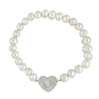 Glitzy Rocks White Freshwater Pearl and Cubic Zirconia Heart Stretch Bracelet (7 mm)